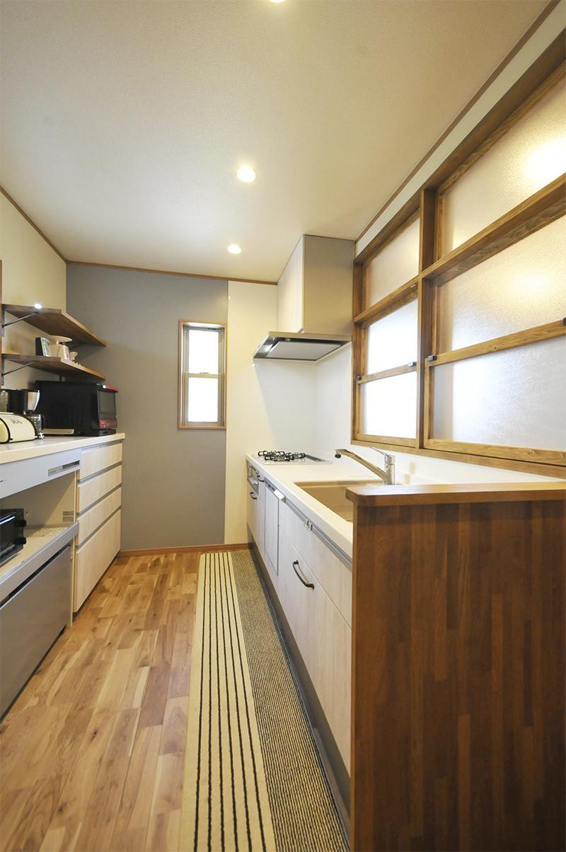 キッチン事例:キッチン1(ナチュラルなレトロカフェスタイル)