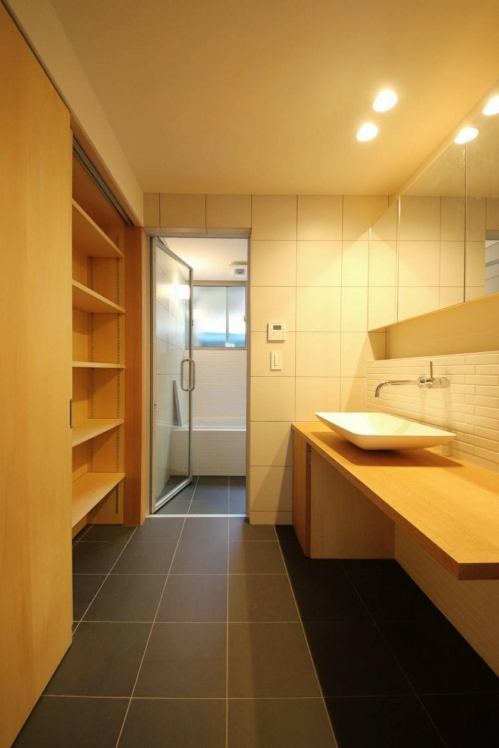 八尾の家(コンセプトハウス) (造作洗面・在来浴室)