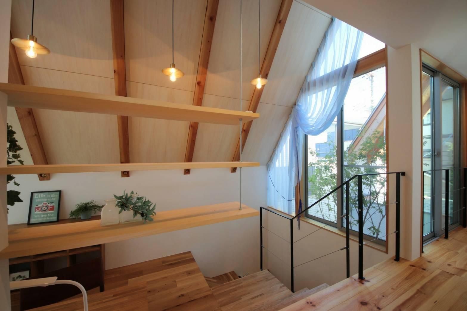 書斎事例:書斎・2Fホール(八尾の家(コンセプトハウス))