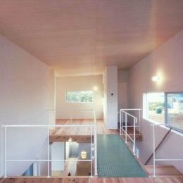 東松山のL型ボックス/Moさんの家 (透明グレーチングのブリッジのかかる吹き抜けを挟んだ2階の2室)