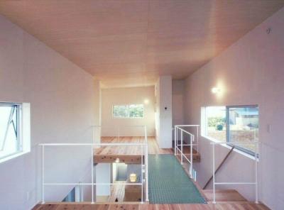 透明グレーチングのブリッジのかかる吹き抜けを挟んだ2階の2室 (東松山のL型ボックス/Moさんの家)