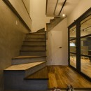 モルタル階段の家の写真 玄関
