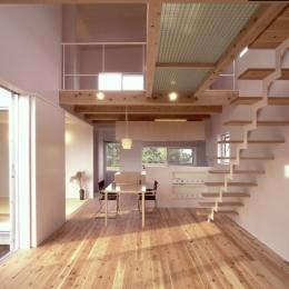 東松山のL型ボックス/Moさんの家 (スチールストリップ階段のあるリビング・ダイニング)