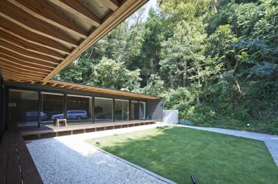 中庭の眺め (稲村ヶ崎の住宅 - 建物と自然からうまれる平屋中庭住宅 -)