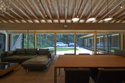 稲村ヶ崎の住宅 - 建物と自然からうまれる平屋中庭住宅 - (リビングから中庭の眺め)