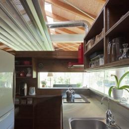 都幾川縁りのハイブリッド・ハウス/Onさんの家 (キッチン-コア部分)
