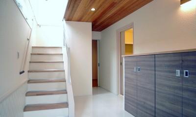 天然木羽目板とモザイクタイル貼りの、狭小住宅 東京 (天然木羽目板の天井、セラミックタイルの床)