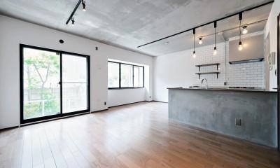 壁・天井もキッチンカウンターもモルタル仕上げの無骨でラフなマンションリノベーション (リビング・掃きだし窓)