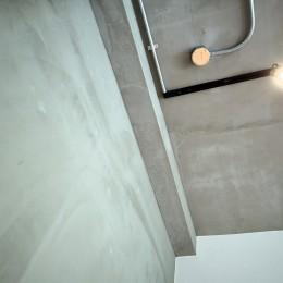 壁・天井もキッチンカウンターもモルタル仕上げの無骨でラフなマンションリノベーション (素材感のある壁・天井)