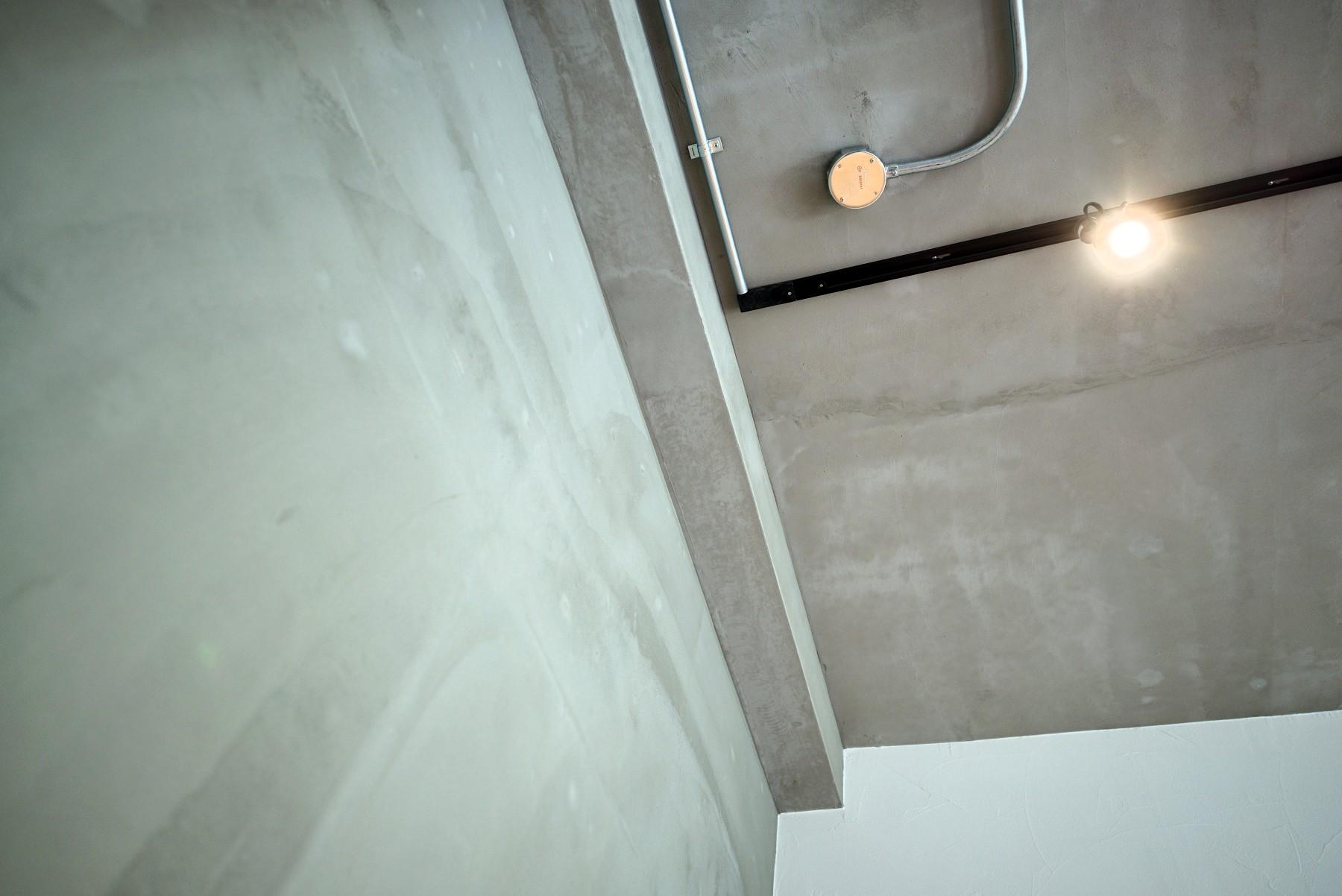 リビングダイニング事例:素材感のある壁・天井(壁・天井もキッチンカウンターもモルタル仕上げの無骨でラフなマンションリノベーション)
