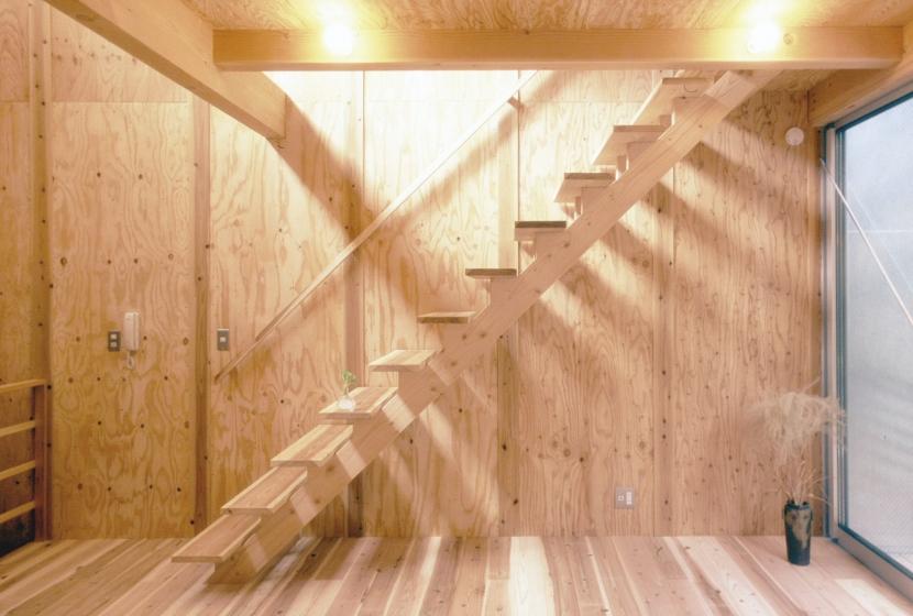 小石川植物園と向き合う家/Niさんの家の部屋 ロフトへの階段