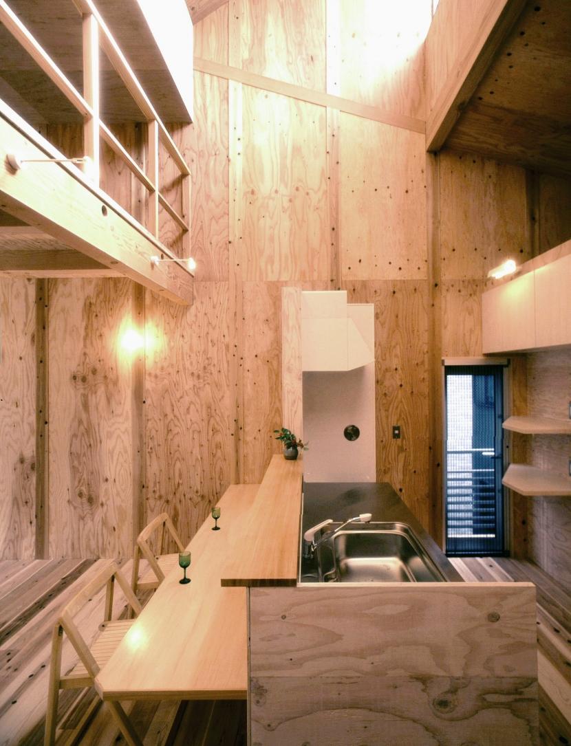 小石川植物園と向き合う家/Niさんの家の写真 吹抜けハイサイドライトと下のキッチン