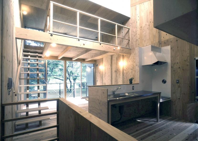 小石川植物園と向き合う家/Niさんの家の部屋 リビング・ダイニング。キッチン。ロフト