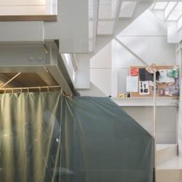 『』の家|鉄骨狭小スキップフロアのガレージハウス【大阪市】 (階段)