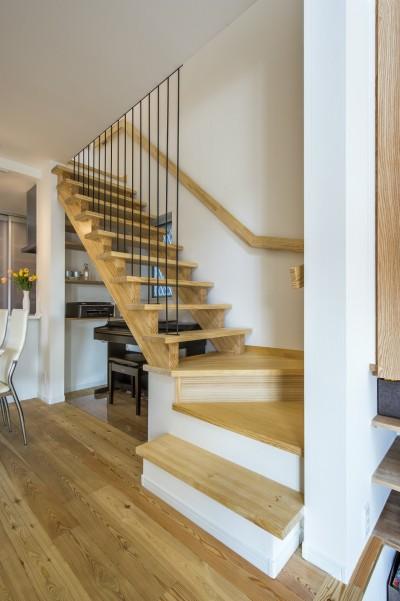 リビング階段 (スキップフロアのある家~パッシブハウス~)