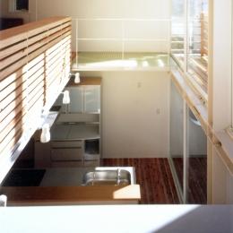 鉄と杉/Kaさんの家 (リビング・ダイニング上部吹き抜け)