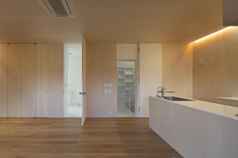 キッチン事例:キッチン、ダイニング、リビング(岡本の住宅)