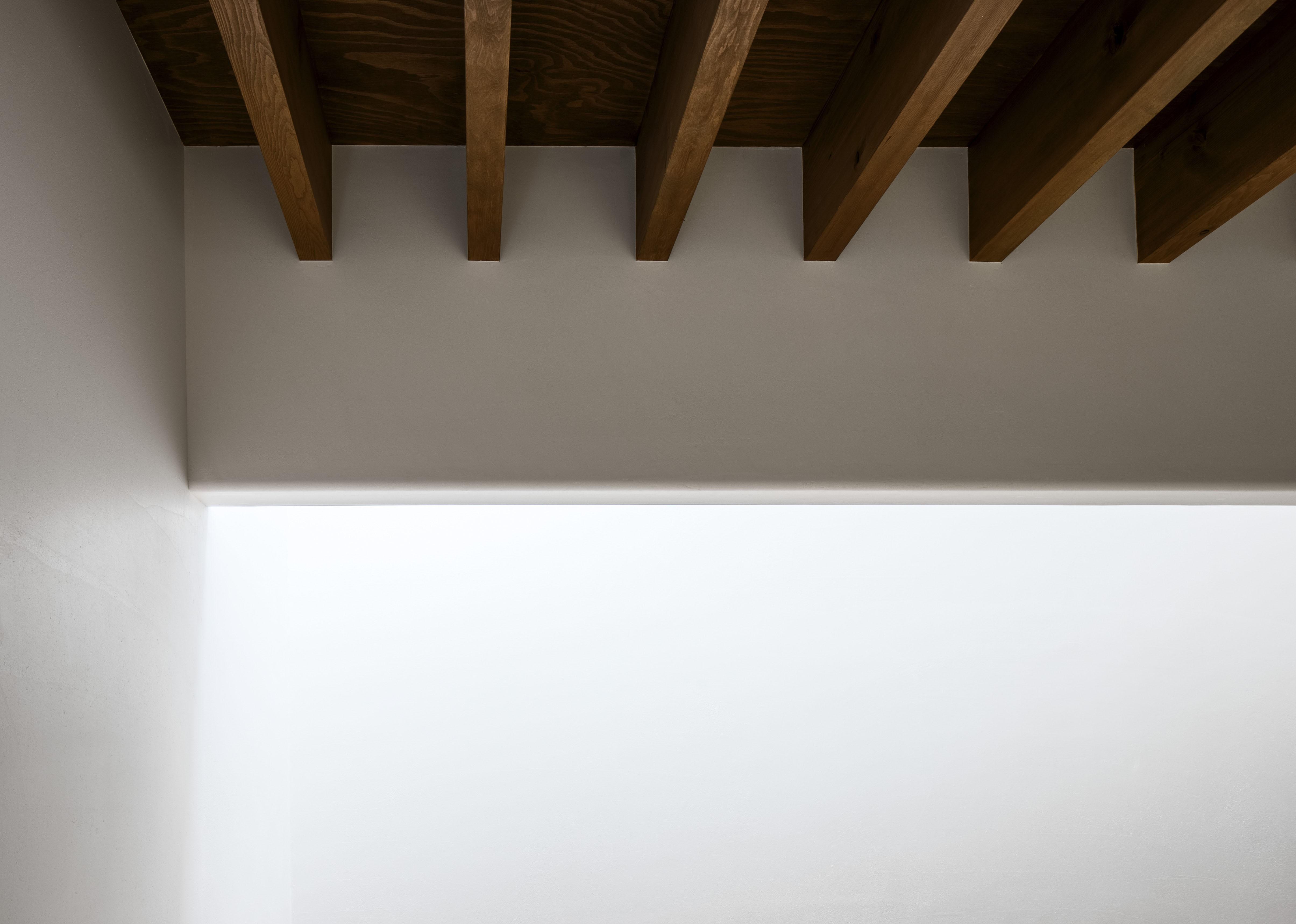 リビングダイニング事例:漆喰の壁と垂木露しの木天井(井の頭О邸 -シームレスに包まれる温もりの家-)