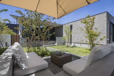 浜松H邸 -庭とリビングが一体化する平屋の邸宅- (アウトサイドロビング)