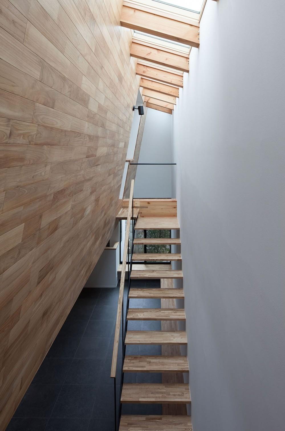 石壁の家 -内外の連続性をつくりだす石壁- (天窓のある吹抜を上る階段)
