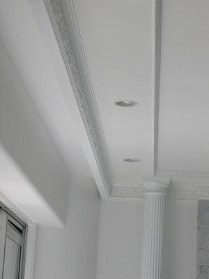 リビングダイニング事例:天井のモールディングにもこだわりが(大阪市中央区マンション 内装リフォーム事例)