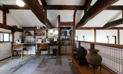 書斎|古民家移築のゲストルームを住宅に/歴梁