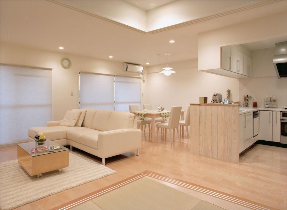 和室よりダイニングを見る (岡崎のマンション – 斜めに切り取られた和室が空間の可能性を広げる –)