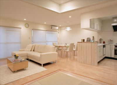 岡崎のマンション – 斜めに切り取られた和室が空間の可能性を広げる – (和室よりダイニングを見る)