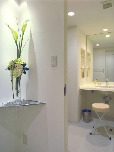 廊下から洗面所をみる (岡崎のマンション – 斜めに切り取られた和室が空間の可能性を広げる –)