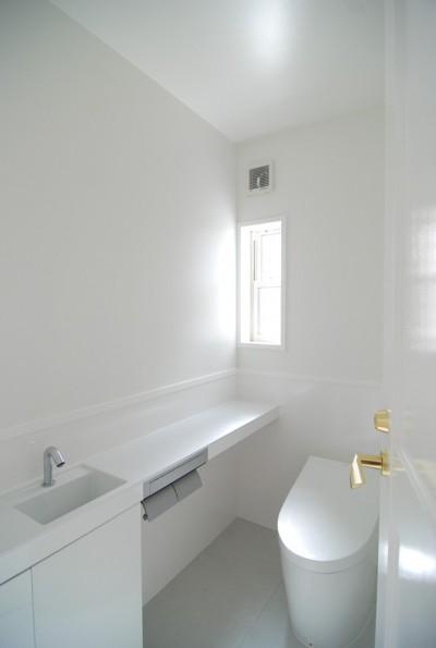 セラミックパネルを使用した衛生的なトイレ (風見鶏の家~夢をかなえる住まい)