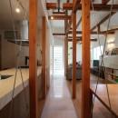 光庭の家 – 敷地条件を諦めない改修<リノベーション> –の写真 2階廊下から光庭を見る