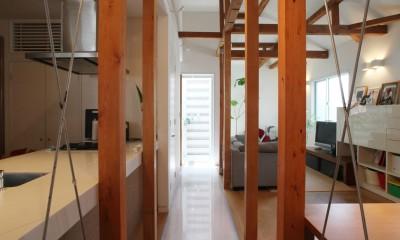 光庭の家 – 敷地条件を諦めない改修<リノベーション> – (2階廊下から光庭を見る)
