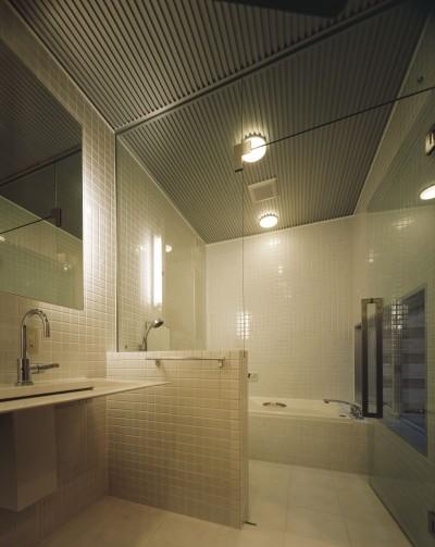 1階洗面・バスルーム (光庭の家 – 敷地条件を諦めない改修<リノベーション> –)