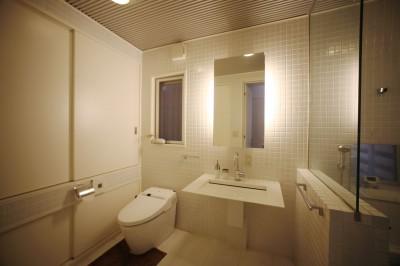 洗面 トイレ (光庭の家 – 敷地条件を諦めない改修<リノベーション> –)