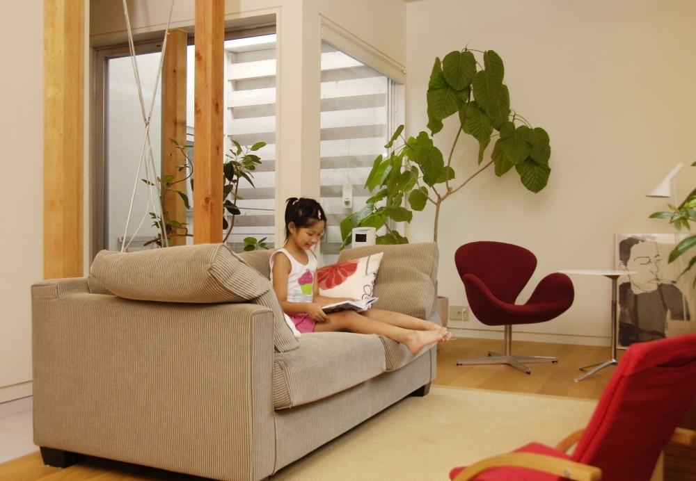 光庭の家 – 敷地条件を諦めない改修<リノベーション> – (リビング)