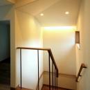 杉並の住宅 大きな切妻屋根の家の写真 明るい階段