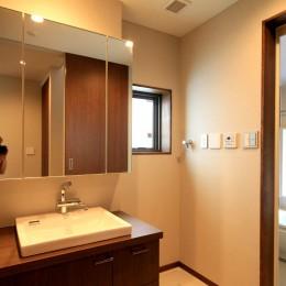 杉並の住宅 大きな切妻屋根の家 (洗面室と浴室)