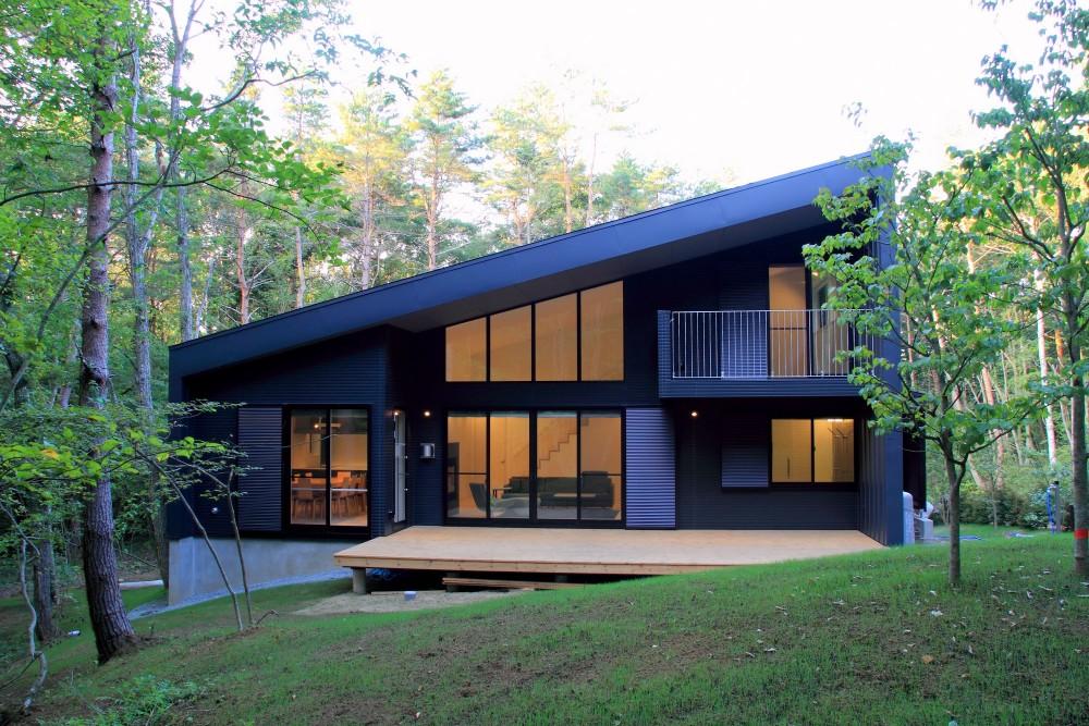 富士山麓の別荘 カラマツ林の傾斜地に建つ別荘 (外観)