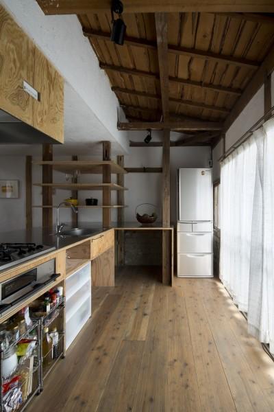 キッチン (Renovation in Nekogahora / 天井と壁を取り払い構造補強により豊かさを得た住宅兼店舗)
