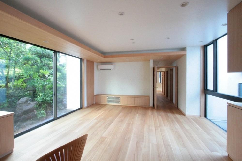 善福寺の家(広い庭とビルトインガレージのある2世帯住宅) (リビングダイニング(南庭と北側の坪庭に面する明るく風通しの良いリビング))