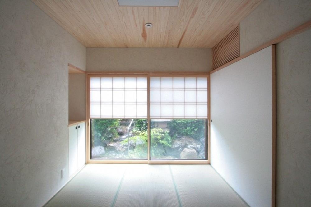 善福寺の家(広い庭とビルトインガレージのある2世帯住宅) (たたみの間(入り口から南庭を望む))