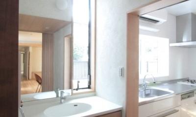 善福寺の家(広い庭とビルトインガレージのある2世帯住宅) (玄関脇の洗面コーナーとキッチン)