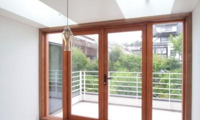 善福寺の家(広い庭とビルトインガレージのある2世帯住宅) (大きなトップライトのダイニングとテラス)