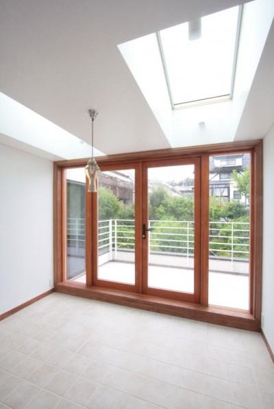 大きなトップライトのダイニングとテラス (善福寺の家(広い庭とビルトインガレージのある2世帯住宅))