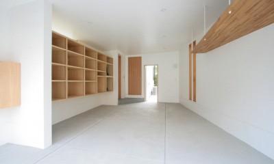 善福寺の家(広い庭とビルトインガレージのある2世帯住宅) (ビルトインガレージ(入口側より望む))