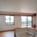大泉の家(大きなロフトとルーフテラスのある2世帯住宅)の写真 リビング・ダイニング(キッチンより望む)