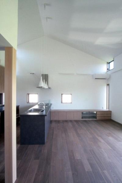 大泉の家(大きなロフトとルーフテラスのある2世帯住宅) (リビング、ダイニング、キッチン(2階、子世帯))