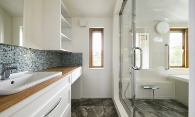 F邸_庭の緑と空間を楽しむ住まいをつくる (バスルーム)