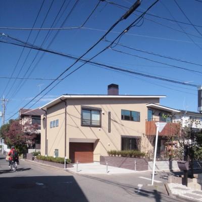 外観(敷地西側の主要道路から建物の南面を望む) (大泉学園の家(薪ストーブを設けた吹抜けを中心とした自然素材の家))