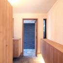 大泉学園の家(薪ストーブを設けた吹抜けを中心とした自然素材の家)の写真 玄関ホール(間接照明と木製扉の玄関)